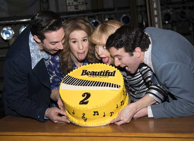 The stars of Beautiful — The Carole King Musical toast their show's second anniversary with a tasty treat.