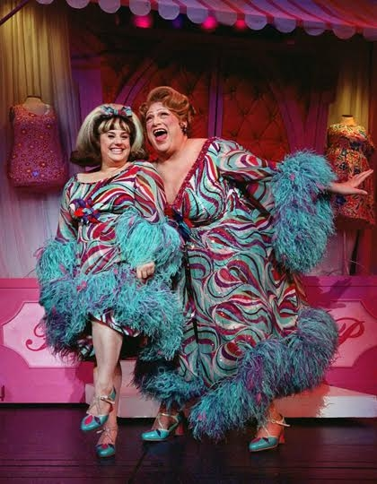 Marissa Jaret Winokur and Harvey Fierstein as Tracy Turnblad and Edna Turnblad in the 2002 Broadway production of Hairspray.