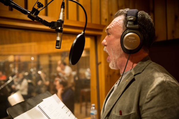 Patrick Page records a song for the Hunchback of Notre Dame cast album.