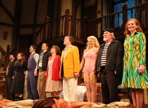 The stars of Noises Off take their opening-night bow on stage at the American Airlines Theatre.