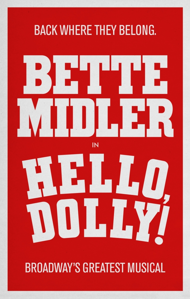 Production artwork for the 2017 Broadway revival of Hello, Dolly! starring Bette Midler.