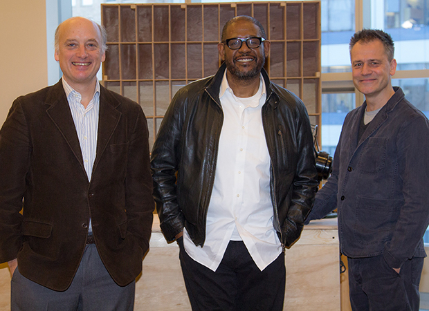 Director Michael Grandage (right) joins stars Frank Wood and Forest Whitaker for a snapshot.