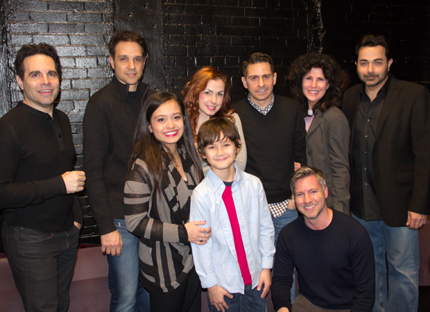 The full team behind A Room of My Own: cast members Mario Cantone, Ralph Macchio, Kendra Jain, Joli Tribuzio, Nico Bustamante, writer/director Charles Messina, Abingdon Theatre Company Artistic Director Tony Speciale, Liza Vann, and Johnny Tammaro.