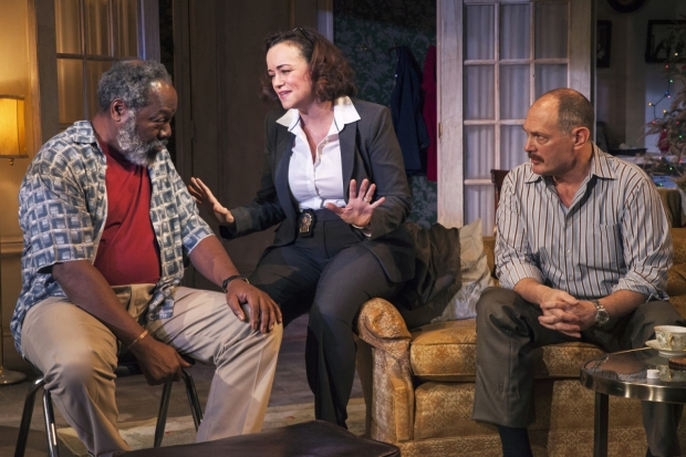 Frankie R. Faison, Emily K. Townley, and David Bishins in Between Riverside and Crazy, directed by Brian MacDevitt, at Studio Theatre.