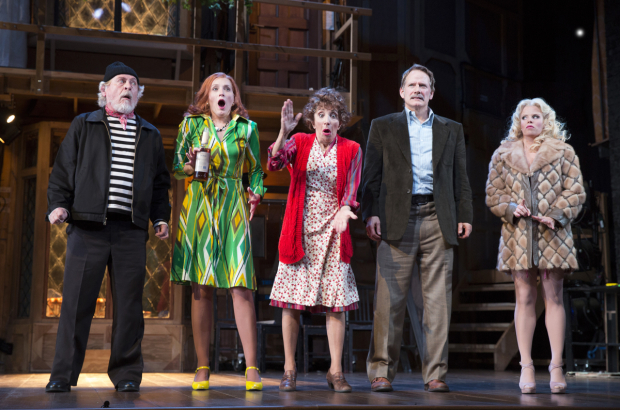 The cast of Noises Off, now playing at Roundabout's American Airlines Theatre.