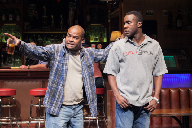 Kevin Kenerly as Brucie and Tramell Tillman as Chris in Lynn Nottage's Sweat, directed by Kate Woriskey, at Arena Stage.