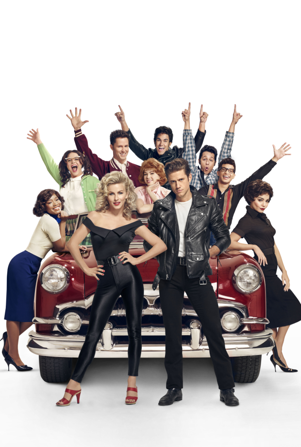 Julianne Hough and Aaron Tveit (center) star in Fox's Grease Live tonight at 7pm.