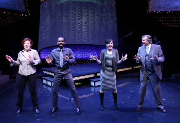 Leigh Barrett, Davron S. Monroe, Aimee Doherty, and Christopher Chew in Sondheim on Sondheim, directed by Spiro Veloudos, at Lyric Stage Company.