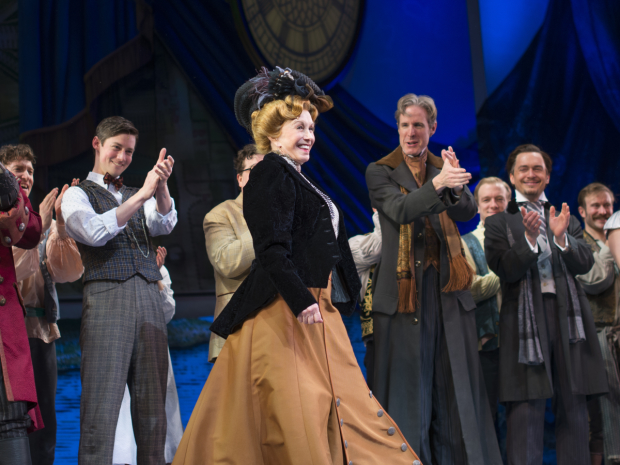 The cast of Finding Neverland applauds Duncan on her opening night with the company.