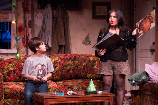 Kendra Jain as Jeannie Morelli with Nico Bustamante, who portrays 10-year-old Carl.