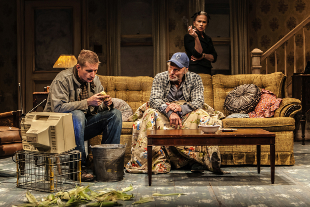 Paul Sparks plays Tilden, Ed Harris plays Dodge, and Amy Madigan plays Halie in Buried Child.