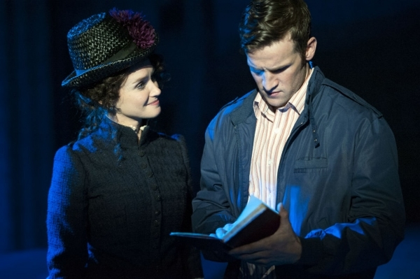 Brynn O'Malley as Dot and Claybourne Elder as George in the 2015 Signature Theatre revival of Sunday in the Park With George.