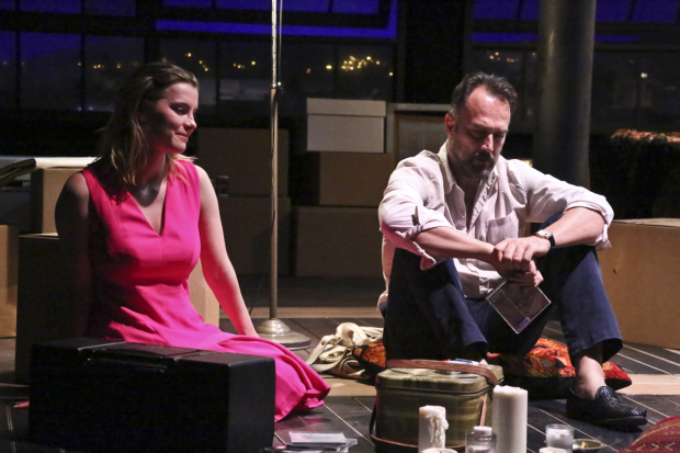 Betty Gilpin and Carlos Leal star in Bess Wohl's Barcelona, directed by Trip Cullman, at the Geffen Playhouse.