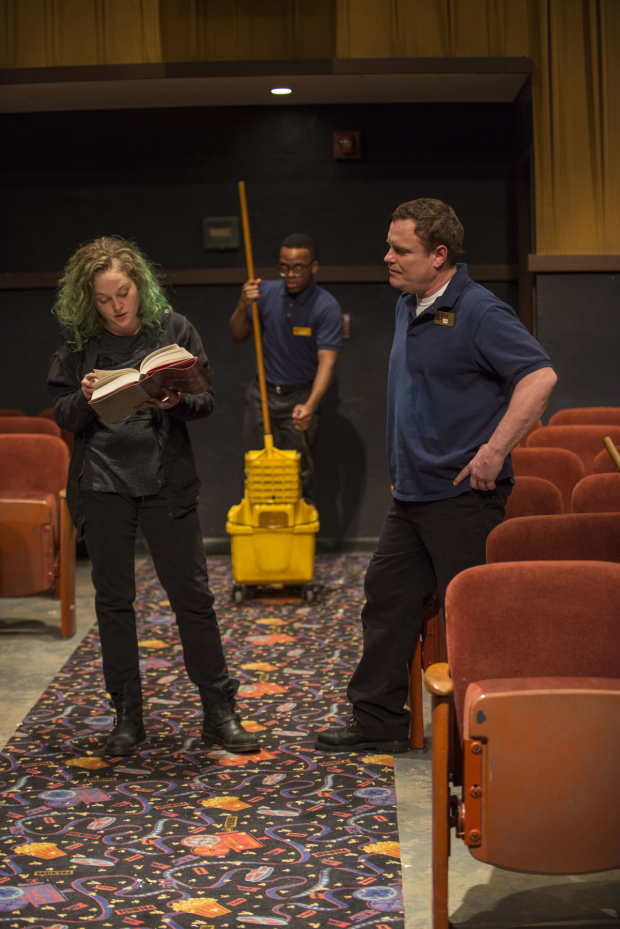 Caroline Neff, Travis Turner, and Danny McCarthy star in Annie Baker's The Flick, directed by Dexter Buillard, at Steppenwolf Theatre Company.