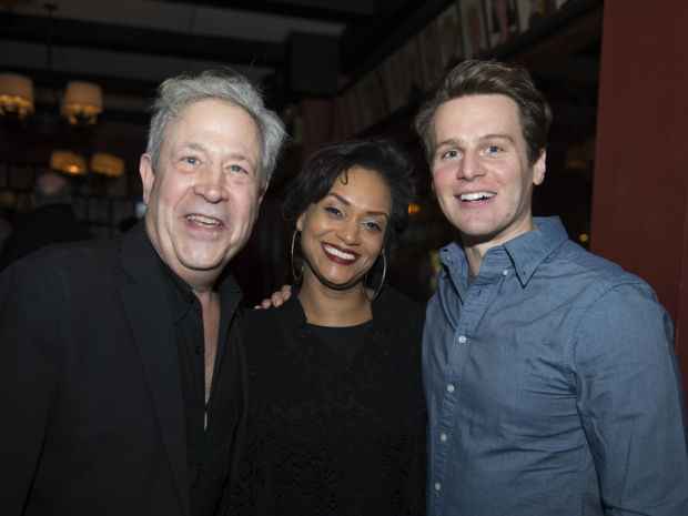 Album producer Jeffrey Lesser (left) enjoys the evening with two of the show's cast members Rema Webb and Jonathan Groff.