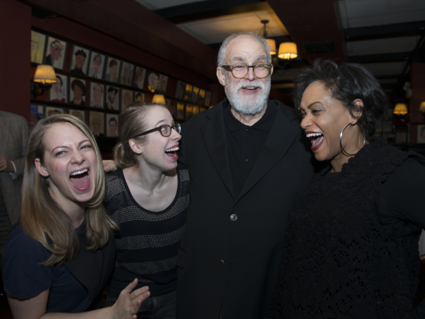 Jenni Barber, Alyse Alan Louis, and Rema Webb laugh with A New Brain composer William Finn.