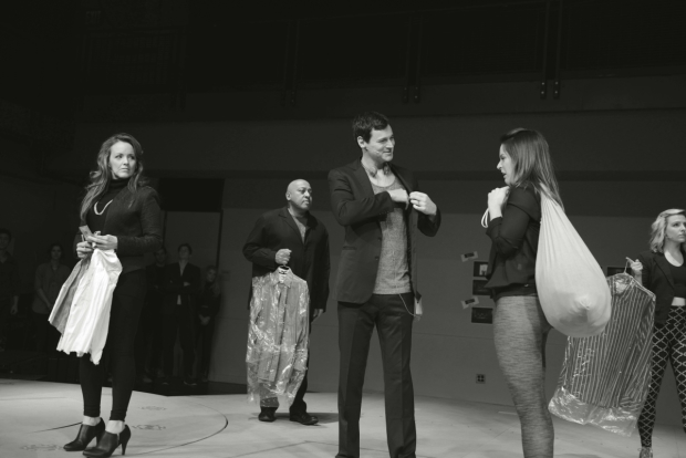 A scene from rehearsal of Broadway's American Psycho, starring Benjamin Walker and Alice Ripley.