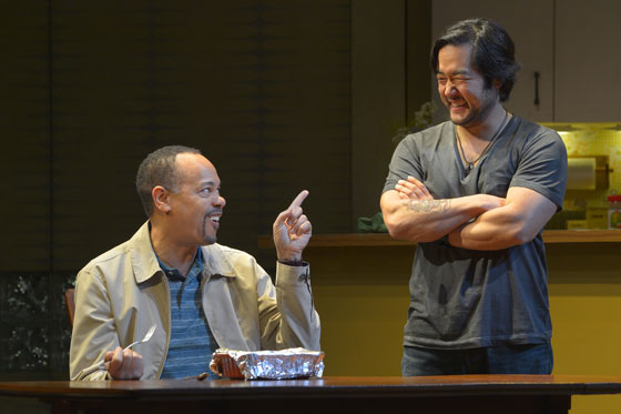 Tyrone Mitchell Henderson and Tim Kang in the world premiere of Julia Cho's Aubergine at Berkeley Repertory Theatre.