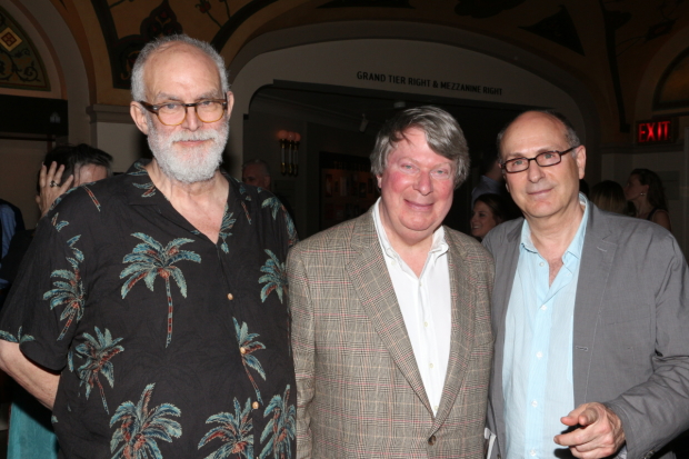 Writers William Finn (left) and James Lapine (right) will collaborate with Lincoln Center Theater Artistic Director André Bishop (center) on a new Broadway revival of Falsettos.
