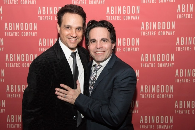 Ralph Macchio and Mario Cantone celebrate the opening night of A Room of My Own.