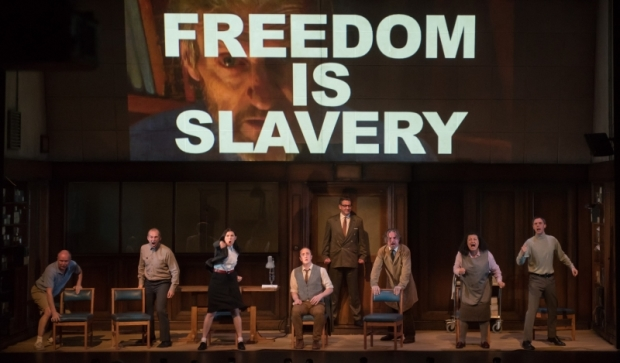 The cast of 1984, directed and adapted by Robert Icke and Duncan Macmillan, at the American Repertory Theater.
