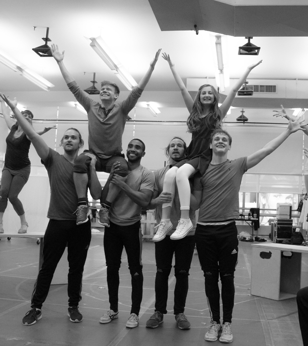 Andrew Keenan-Bolger, Sarah Charles Lewis, and the men of Tuck Everlasting rehearse a spectacular moment from the new musical.