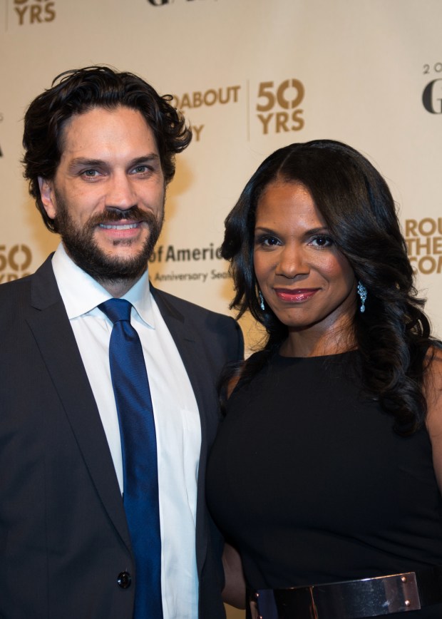 Will Swenson and Audra McDonald walk the red carpet at Roundabout Theatre Company's 50th Anniversary gala, where McDonald was honored.
