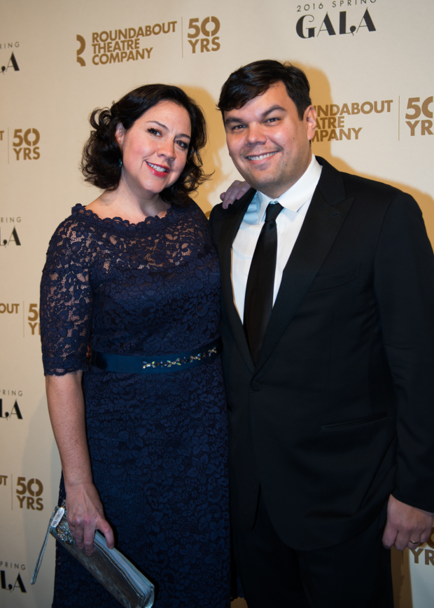 Frozen scribes Kristin Anderson-Lopez and Robert Lopez arrive for Roundabout's annual gala.