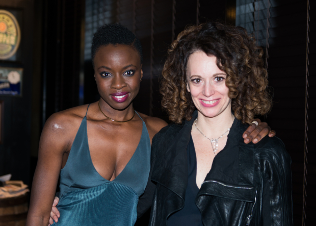 Playwright Danai Gurira celebrates her opening with her director, Rebecca Taichman.