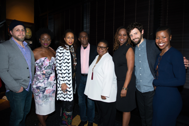 The cast of Familiar: Joe Tippett, Ito Aghayere, Tamara Tunie, Harold Surratt, Myra Lucretia Taylor, Melanie Nicholls-King, Joby Earle, and Roslyn Ruff.