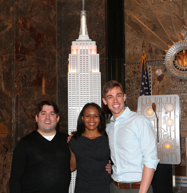 The Book of Mormon stars Christopher John O'Neill, Nikki Renée Daniels, and Nic Rouleau light the Empire State Building to honor the show's fifth anniversary on Broadway.