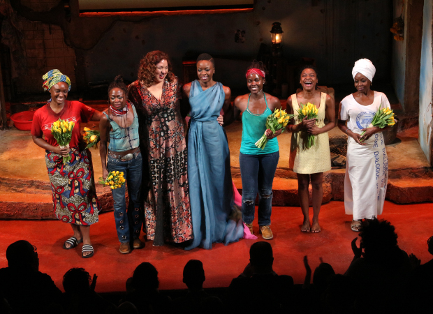 Director Liesl Tommy and playwright Danai Gurira (center) join the cast on stage for a bow.