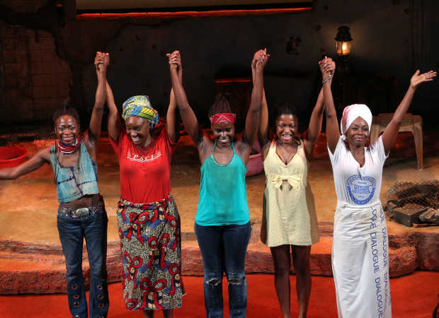 Zainab Jah, Saycon Sengbloh, Lupita Nyong'o, Pascale Armand, and Akosua Busia take their bow on the opening night of Eclipsed.