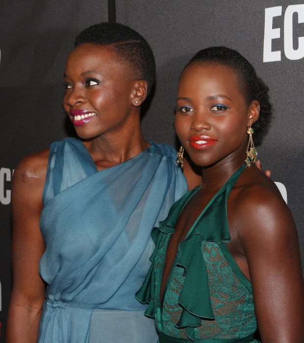 Danai Gurira and Lupita Nyong'o walk the red carpet together.