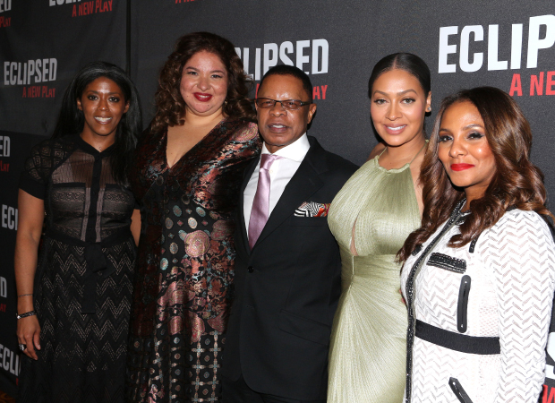 Eclipsed director Liesl Tommy (second from left) joins producers Alia Jones-Harvey, Stephen C. Byrd, Lala Anthony, and Marvet Britto for a group photo.
