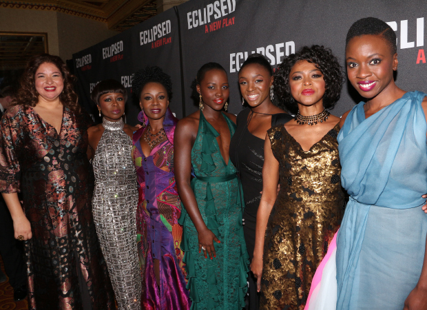 Director Liesl Tommy (left) and playwright Danai Gurira (right) proudly join their cast for a snapshot.