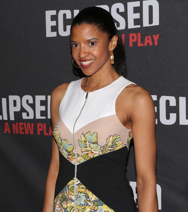Hamilton's Renée Elise Goldsberry walks the press line at the opening of Eclipsed.