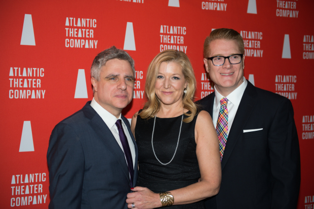 Atlantic Theater Company Artistic Director Neil Pepe, School Director Mary McCann, and Executive Director Jeffory Lawson celebrate their organization.
