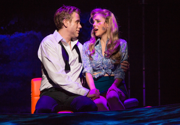 Adam Pascal and Kerry Butler are the romantic leads of Disaster! at the Nederlander Theatre.