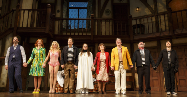 The cast of Noises Off take their bows at the American Airlines Theatre.