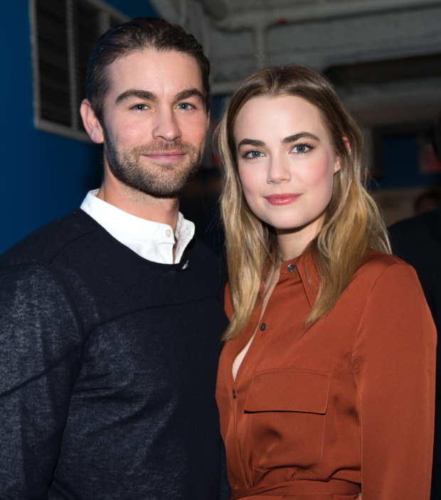 Cast member Rebecca Rittenhouse is joined by her boyfriend and Blood & Oil costar Chase Crawford to celebrate.