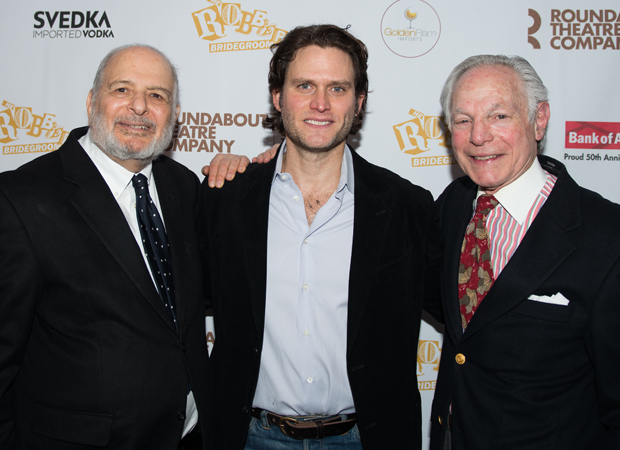 Steven Pasquale joins Robber Bridegroom  authors Alfred Uhry and Robert Waldman for a celebratory photo.