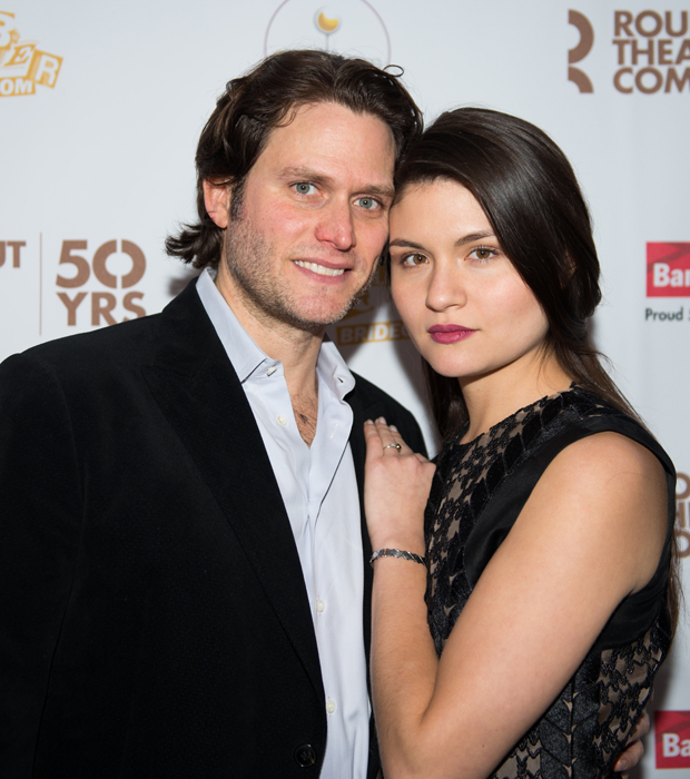 The Robber Bridegroom star Steven Pasquale is joined by his fiancee, Hamilton's Phillipa Soo, at the afterparty.