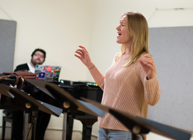 Katie Boeck rehearses a number from The Crazy Ones as Zack Zadek accompanies her.