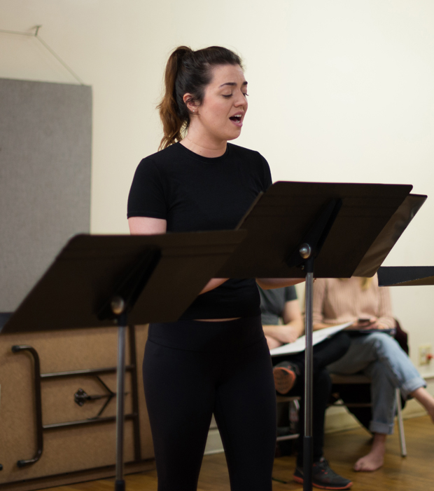 Barrett Wilbert Weed rehearses for The Crazy Ones in concert.