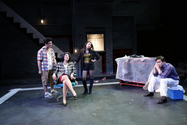 Michael Hisamoto, Lin-Ann Ching Kocar, Theresa Nguyen, and Tyler Simahk in Fast Company, directed by M. Bevin O'Gara, at Lyric Stage Company.