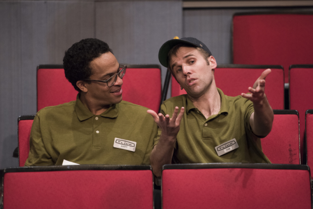 Thaddeus McCants (Avery) and Evan Casey (Sam) in The Flick, directed by Joe Calarco, at Signature Theatre.