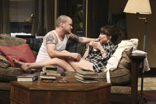 Stephen Louis and Rebecca Pidgeon in Sex With Strangers, directed by Kimberly Senior, at the Geffen Playhouse.