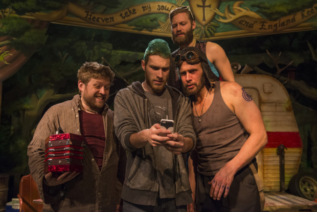 Eric Salas, Scott Wolf, Jake Szczepaniak, and Darrell W. Cox in Jerusalem, directed by Joe Jahraus, at Profiles Theatre.