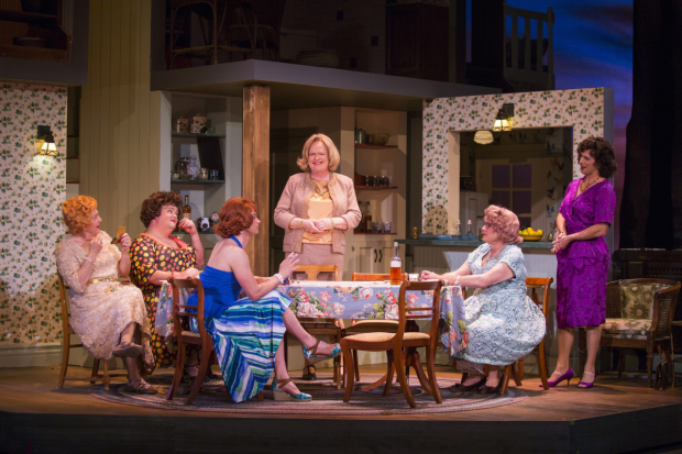 Christian Clemenson (center) as Charlotte in the Pasadena Playhouse production of Casa Valentina by Harvey Fierstein.